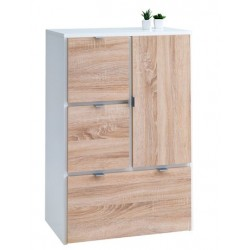 комод NAUTRUP 3 draw.1 door white/oak