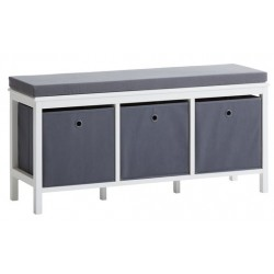 скамья Bench ODBY 3 boxes white/grey